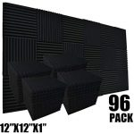 """96 Pack Allxinlog Absorb the echo Acoustic Foam Panel Wedge Studio Soundproofing Wall Tiles 12"""" X 12"""" X 1"""" (96-BLACK)"""