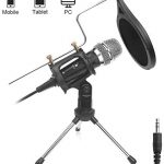 DricRoda Microphone for Recording, 3.5mm Condenser Microphone Studio Broadcast Computer Microphone Mic with Tripod Stand, Pop Filter for Music, Karaoke, Gaming, Podcast,Conference,Facebook,YouTube