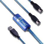 FORE MIDI to USB Interface MIDI Cable Adapter with Input&Output Connecting with Keyboard/Synthesizer for Editing&Recording Track work with Windows/Mac OS for Studio USB 2.0 Color Blue - 6.5Ft
