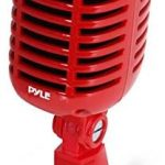 Classic Retro Dynamic Vocal Microphone - Old Vintage Style Unidirectional Cardioid Mic with XLR Cable - Universal Stand Compatible - Live Performance, In Studio Recording - Pyle PDMICR42R (Red)