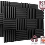 "24 Pack Acoustic Foam Panels 2"" X 12"" X 12"" Fireproof - SGS Certified - Soundproofing Studio Foam Wedge Tiles - Top Quality - Ideal for Home & Studio Sound Insulation High Density 1,57 pound/CBF"
