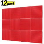 Acoustic Panels, Studio Foam, Sound Proof Panels, Noise Dampening Foam, Studio Music Equipment Acoustical Treatments Foam - 12 Pack - 12''12''1'' Red