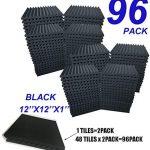 "96 Pack BLACK Acoustic Foam Panel Wedge Studio Soundproofing Wall Tiles 12"" X 12"" X 1"" (96BLACK)"