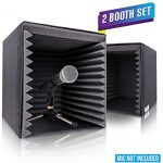 Pyle 2-Pc Recording Shield Box-Microphone Foam Booth Cube, Sound Dampening Filter Audio, Acoustic Noise Isolator Platform w/Wedgie Padding (PSIB27X2)