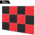 "Little-Lucky Acoustic Foam Panels,SoundProof Padding Foam Panels,2"" X 12"" X 12"" Studio Foam Pyramid Tiles Sound Absorbing Dampening Foam Treatment Wall Panels -12Pack (12Pack, Black/Red)"