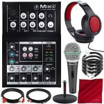 Mackie Mix Series Mix5 5-Channel Compact Mixer and Platinum Bundle w/Dynamic Microphone + Studio Desktop Mic Stand + Headphones + Cables + Fibertique Cloth