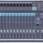 ammoon 12-Channel Mixing Console Mixer Built-in 16 DSP Effects +48V Phantom Power Supports with Power Adapter for Studio Recording Network Live Broadcast DJ Karaoke