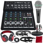 Mackie Mix Series Mix8 8-Channel Compact Mixer and Platinum Bundle with Dynamic Microphone + Desktop Studio Mic Stand + Headphones + More