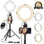 "8"" Ring Light with Tripod Stand - Dimmable Selfie Ring Light LED Camera Ringlight with Tripod and Phone Holder for Live Stream/Makeup/YouTube Video, Compatible for iPhone Android, Remote(Upgraded)"